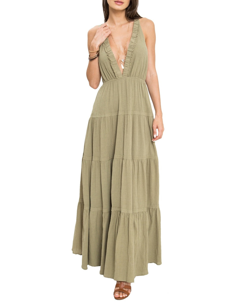 Deep V-Neck Tiered Maxi Dress