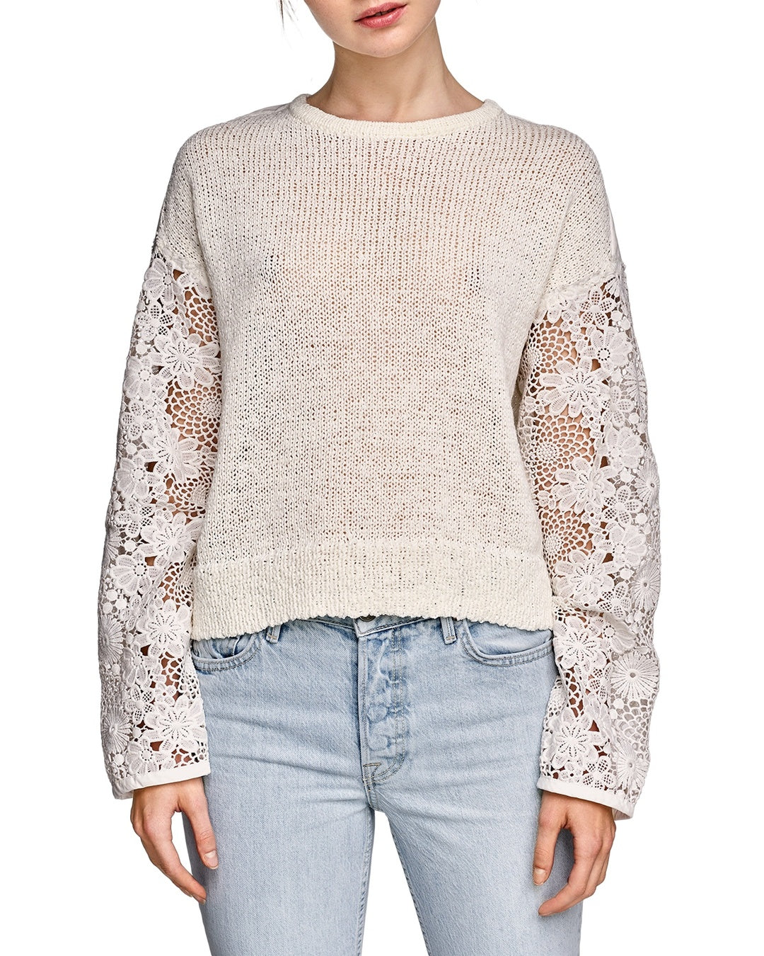 c0273ea340 White + Warren Floral Lace Sleeve Crewneck Sweater - The Shopping Bag