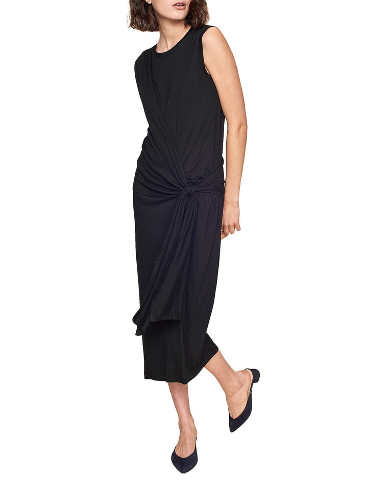 Crinkled Gauze Side Tie Drape Dress