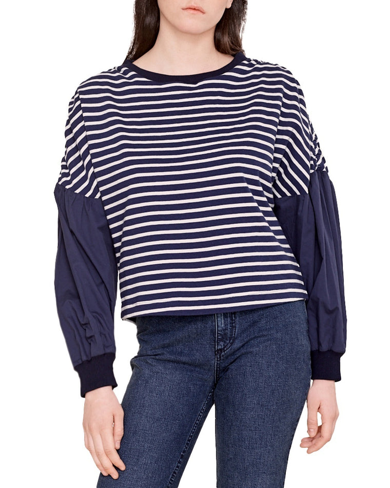 Stripe Shirred Shoulder Top