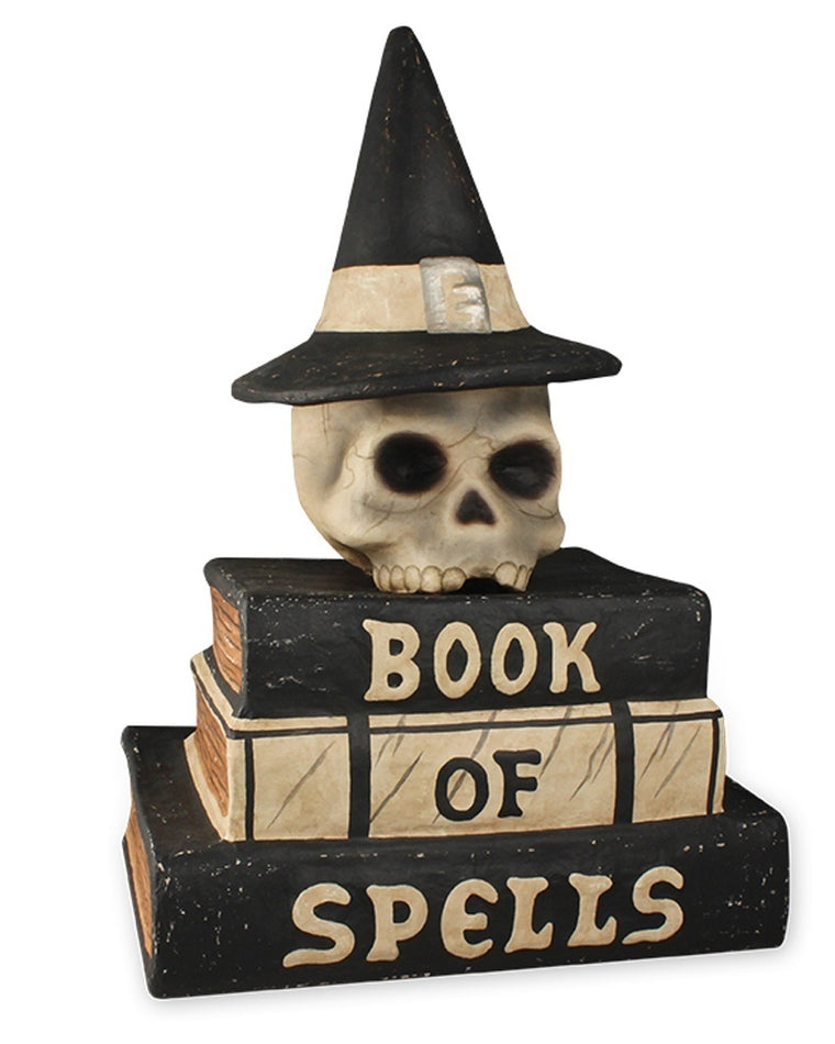 Book of Spells Skull Statue