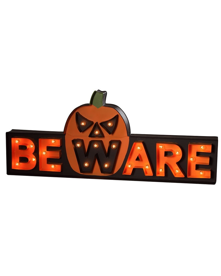 Beware Pumpkin Marquee Sign