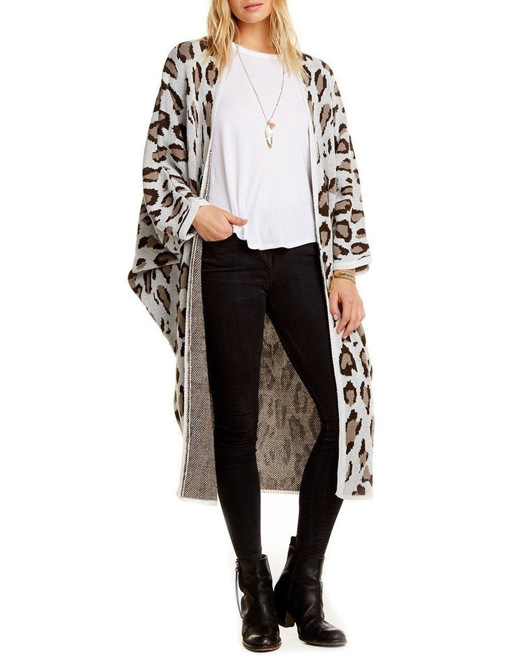 Leopard Cocoon Long Knit Cardigan
