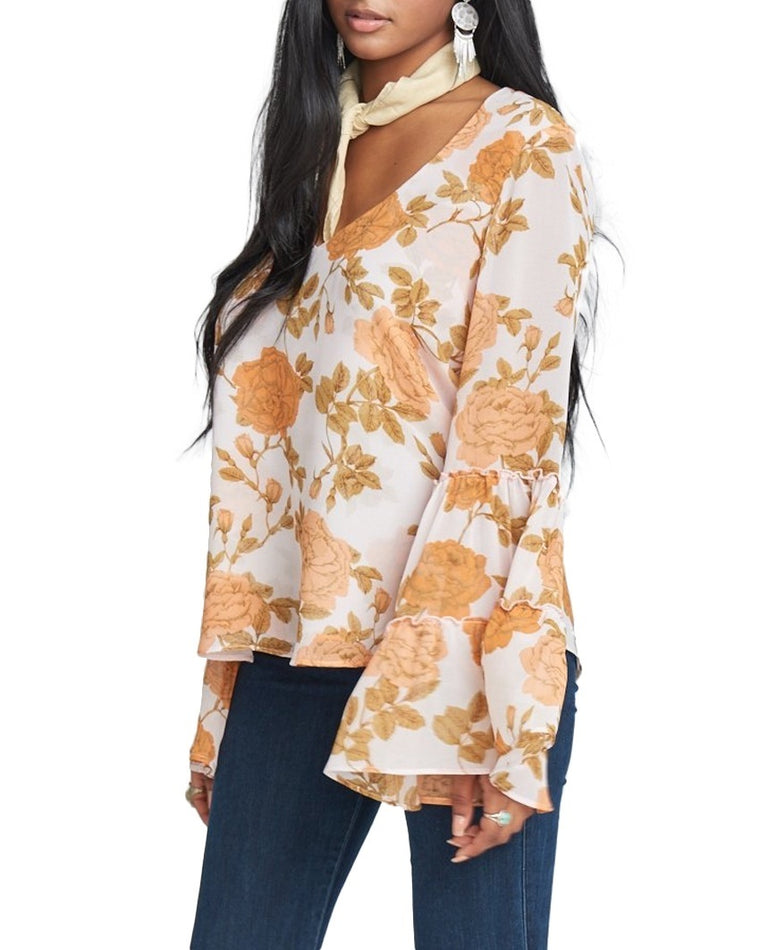 Nicolette Floral Bell Sleeve Top