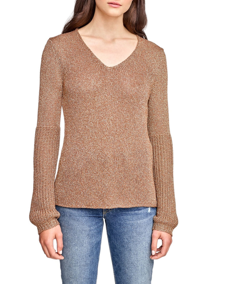 Shine Knit V-Neck Sweater