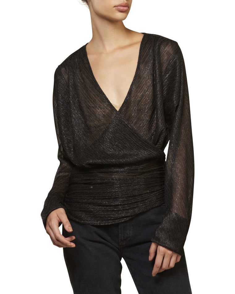 Shine V-Neck Wrap Top