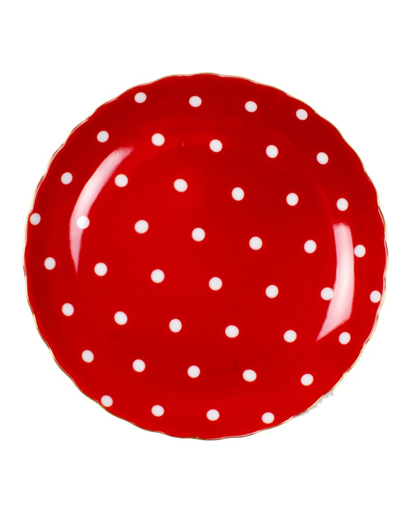 Red Polka Dot Dessert Plates (Set of 4)