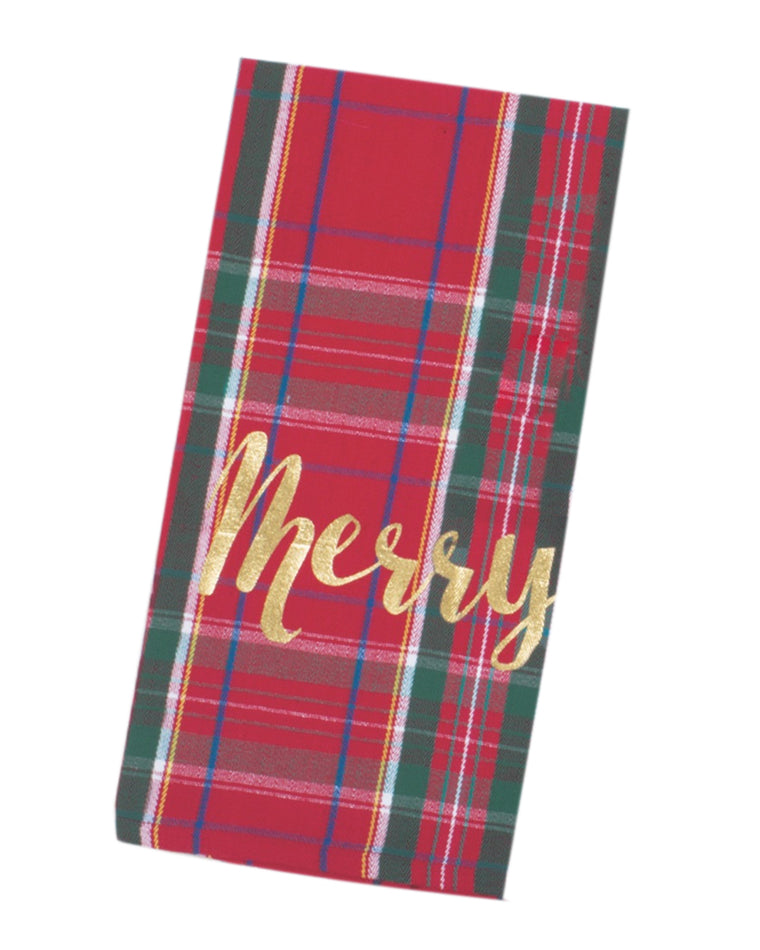 'Merry' Tartan Pattern Dishtowel