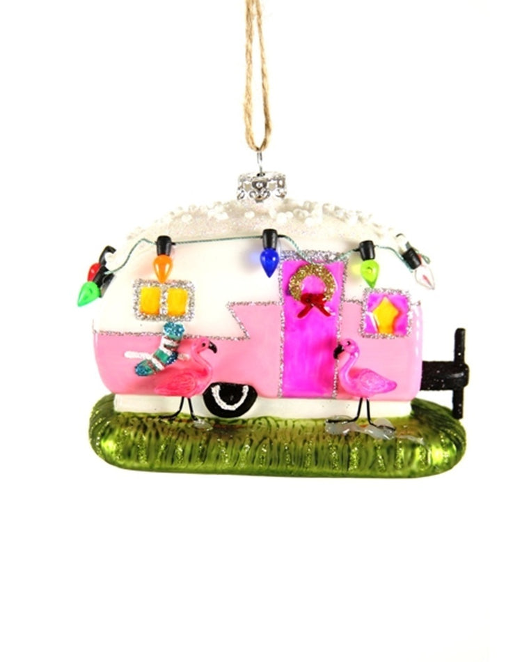 Flamingo Camper Ornament