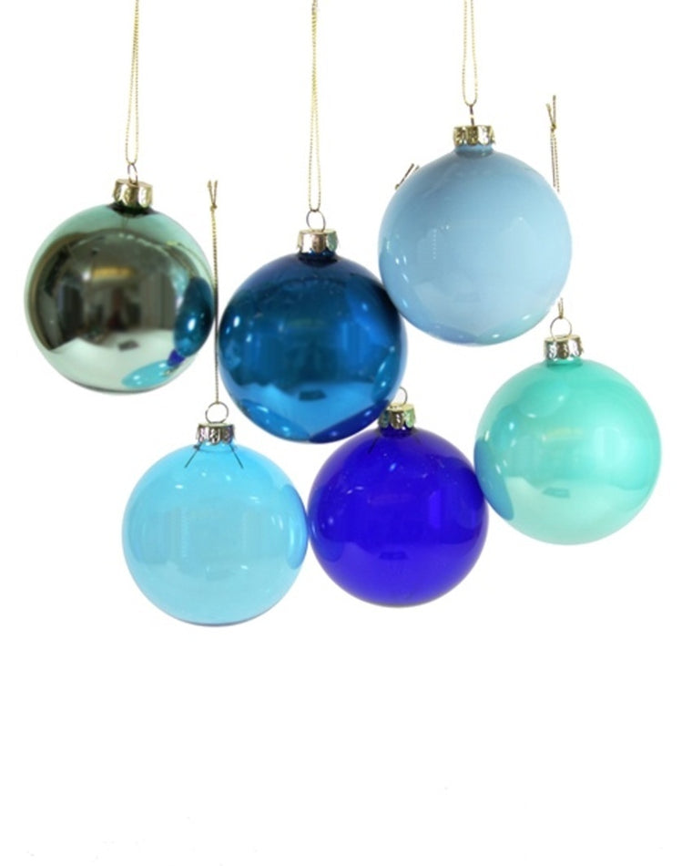 Blue Hued Large Ornaments (Set of 6)