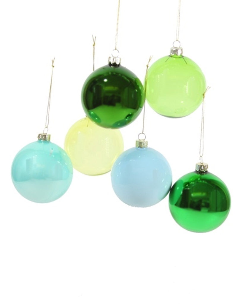 Green Hued Large Ornaments (Set of 6)