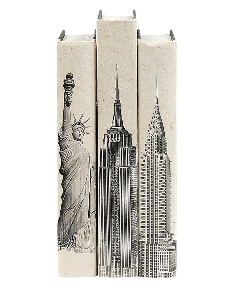 New York Landmarks Reclaimed Book Art Set
