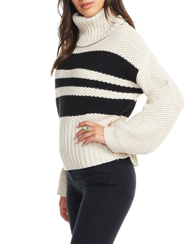 Striped Turtleneck Bell Sleeve Sweater