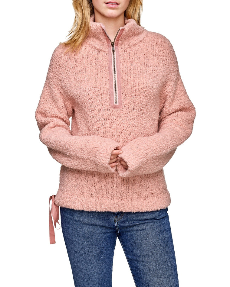 Brushed Cashmere Side Tie Half Zip Sweater