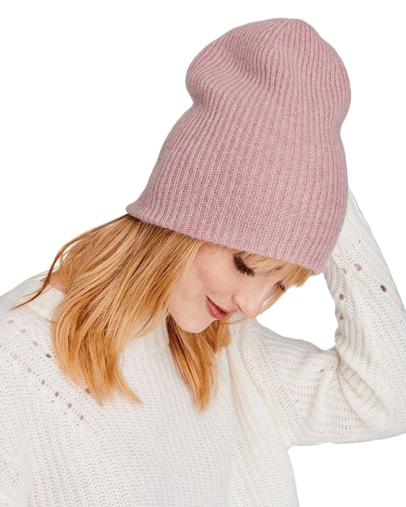 Plush Ribbed Cashmere Beanie