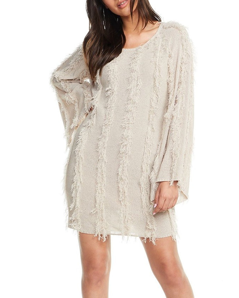 Fringe Raglan Sleeve Sweater Dress