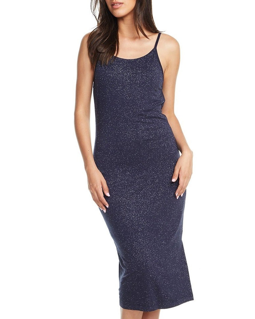Sparkle Drape Back Midi Slip Dress