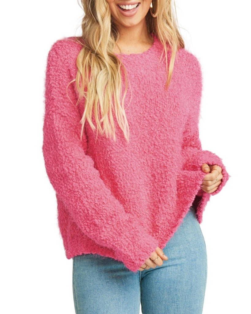 Cropped Knubby Knit Varsity Sweater