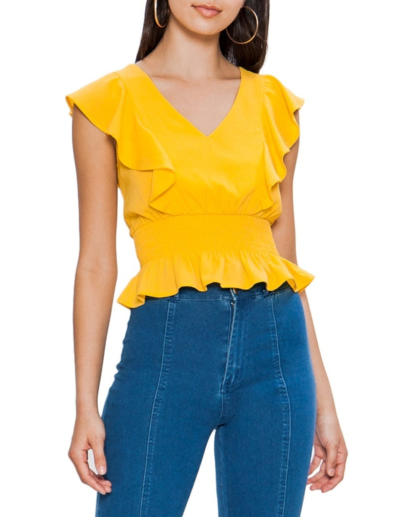 Ruffle V-Neck Crop Top