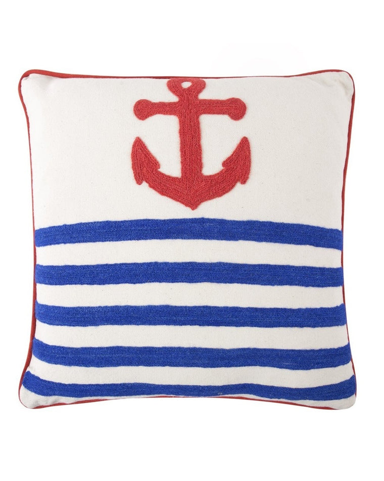 Anchor Crewel Accent Pillow
