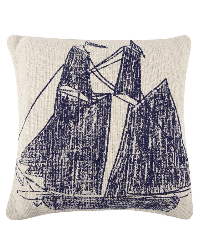 Ship & Captain's Wheel Sketch Accent Pillow