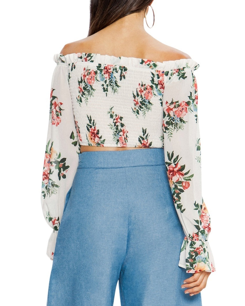 Off-the-Shoulder Floral Smocked Crop Top