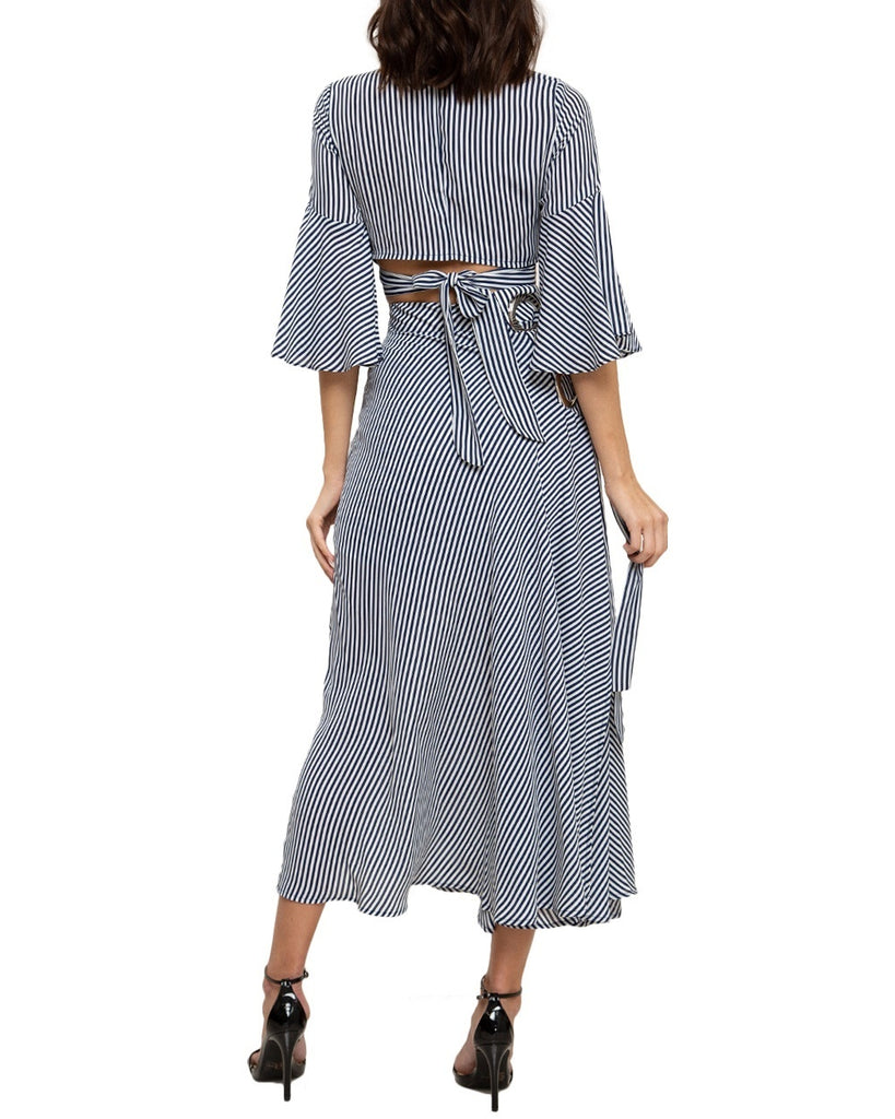 Striped Bell Sleeve Two-Piece Maxi Dress