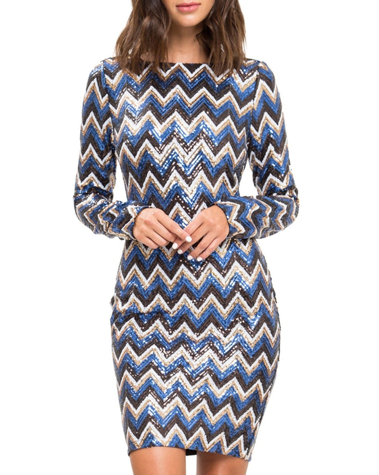 Long Sleeve Sequin Chevron Dress