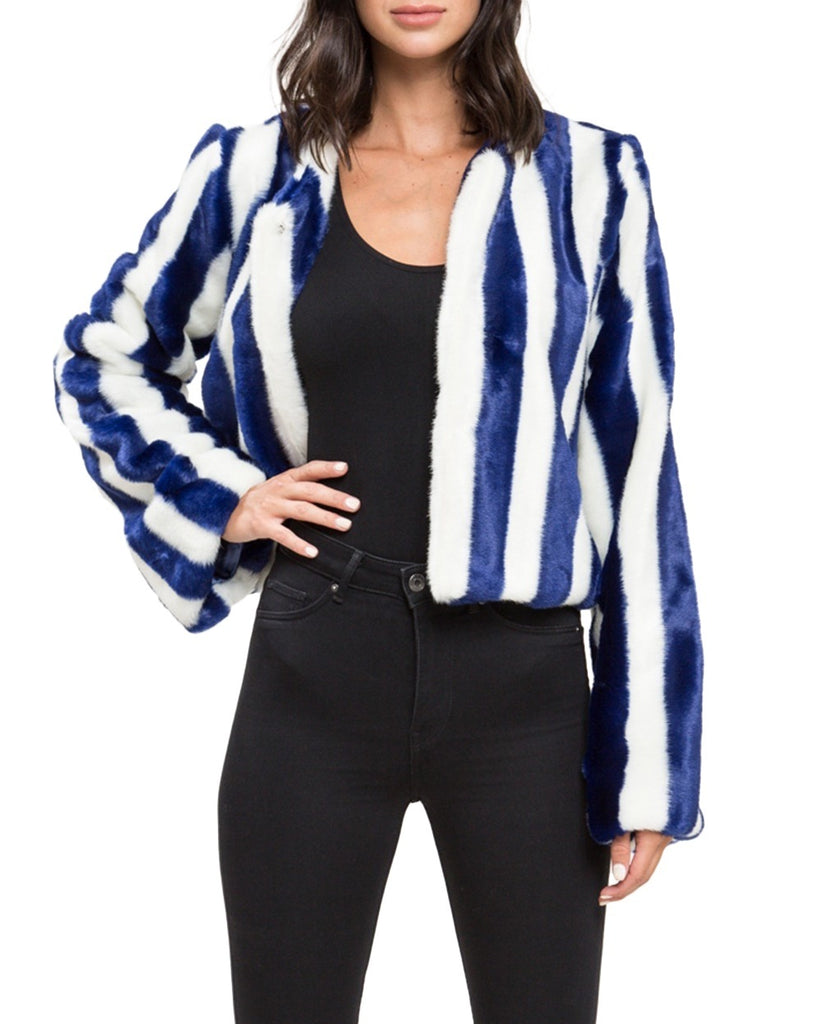Cobalt Blue Stripe Faux Fur Jacket