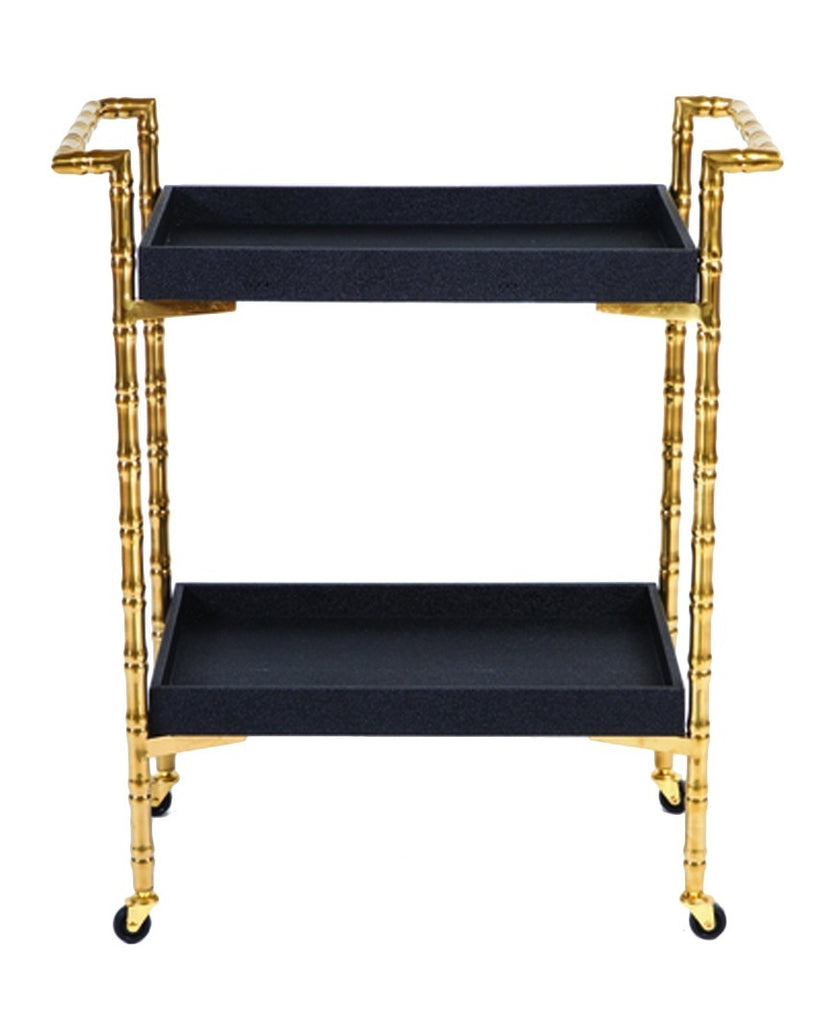 Gold Bamboo Trolley Bar Cart