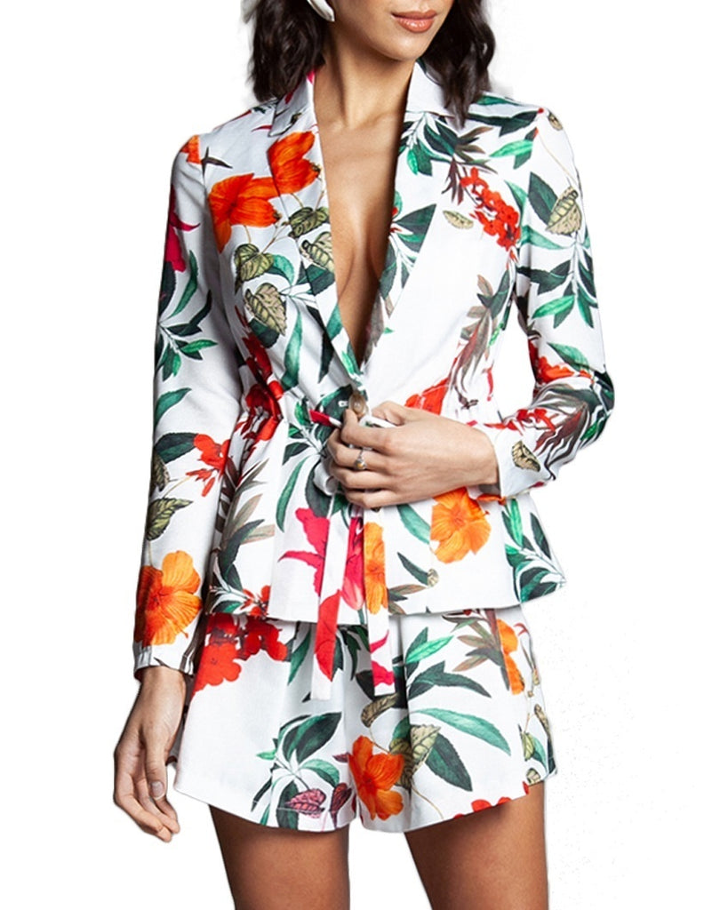 Tropical Floral Two-Piece Romper