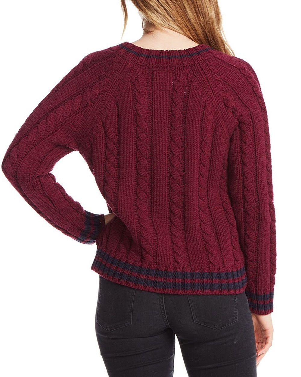 Striped Cable Knit Zip Sweater