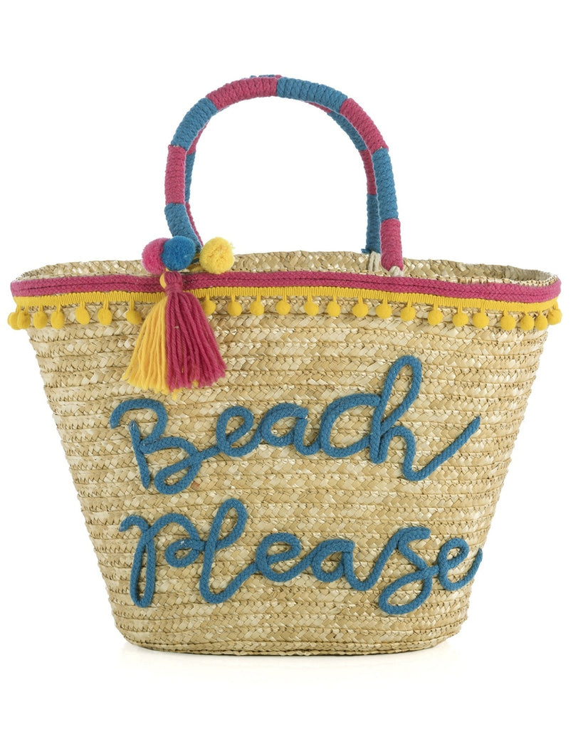 Beach Please Woven Straw Tote