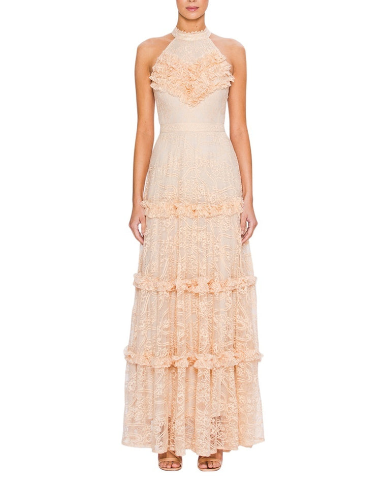 Halter Lace Ruffle Maxi Dress