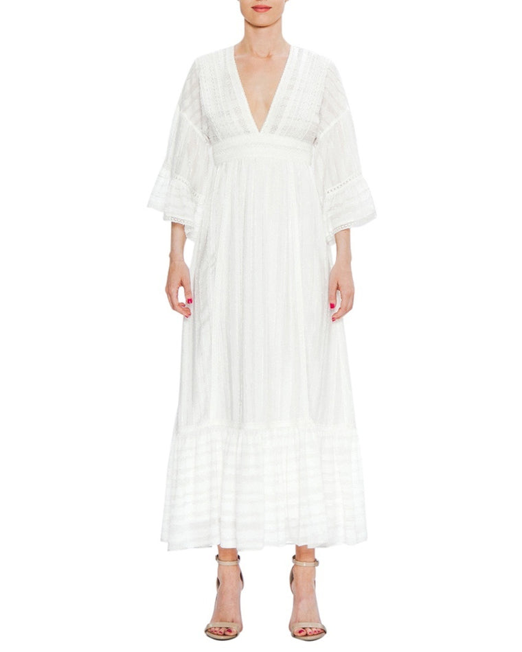 White Lace V-Neck Flounce Sleeve Maxi Dress