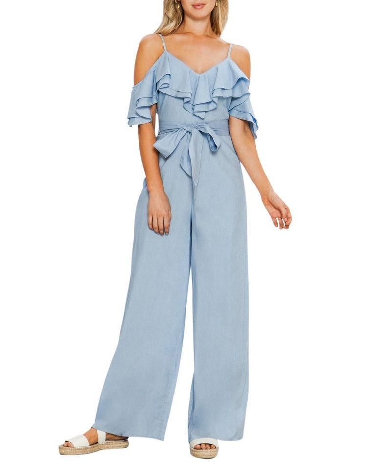 Tiered Ruffle Chambray Jumpsuit