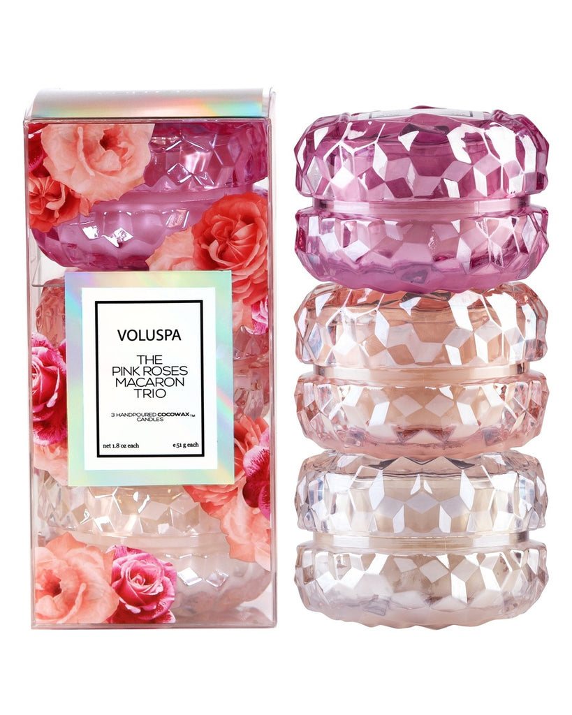 The Pink Roses Macaron Candle Gift Set