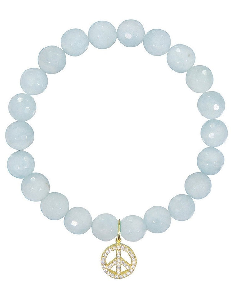 Peace Sign Aquamarine Beaded Bracelet