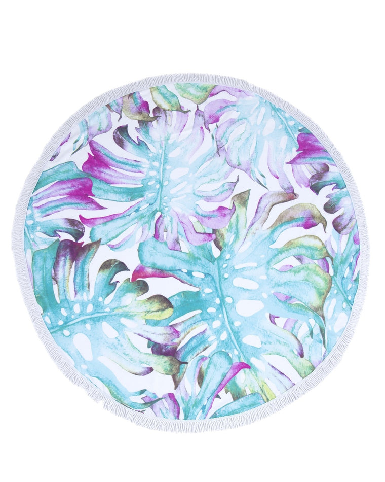 Isla Tropical Leaves Round Beach Towel