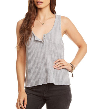 Sparkle Henley Cropped Tank