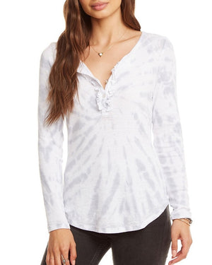 Ruffle Long Sleeve Henley