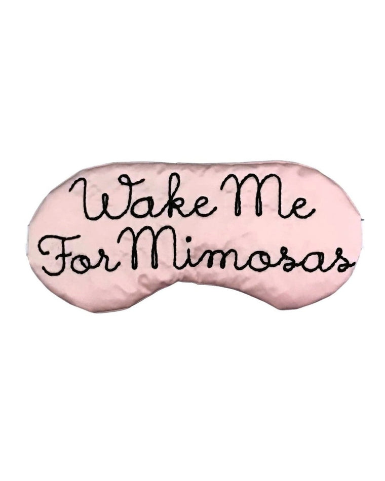 Wake Me For Mimosas Script Silk Sleep Mask