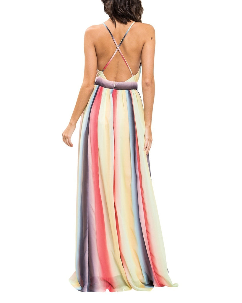 Watercolor Stripe V-Neck Maxi Dress