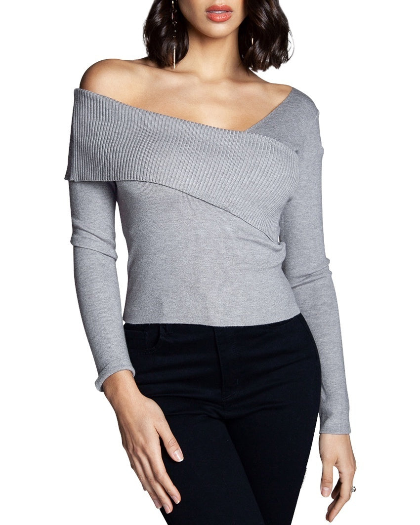 Asymmetrical Off-the-Shoulder Sweater