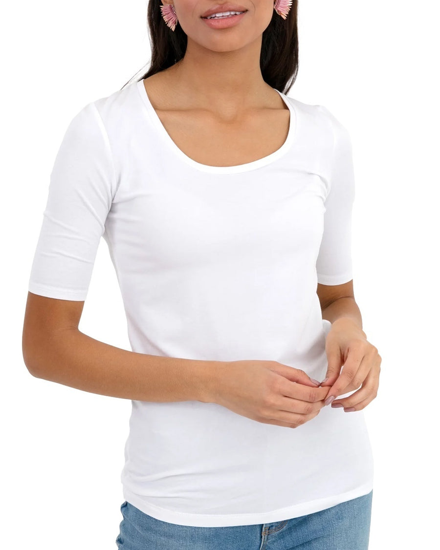 Scoopneck Elbow Sleeve Tee