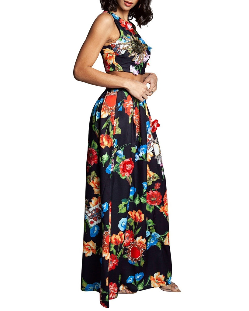 Black Floral Two-Piece Maxi Dress
