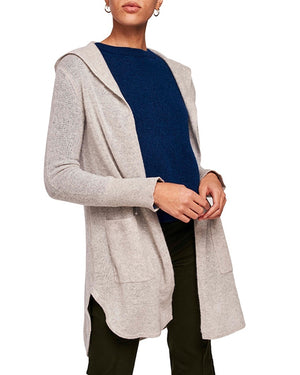 Cashmere Curved Hem Hooded Cardigan