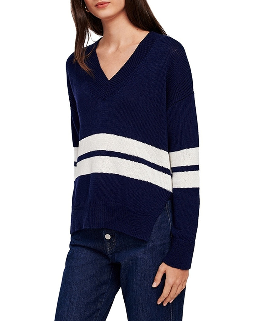 Block Stripe V-Neck Sweater