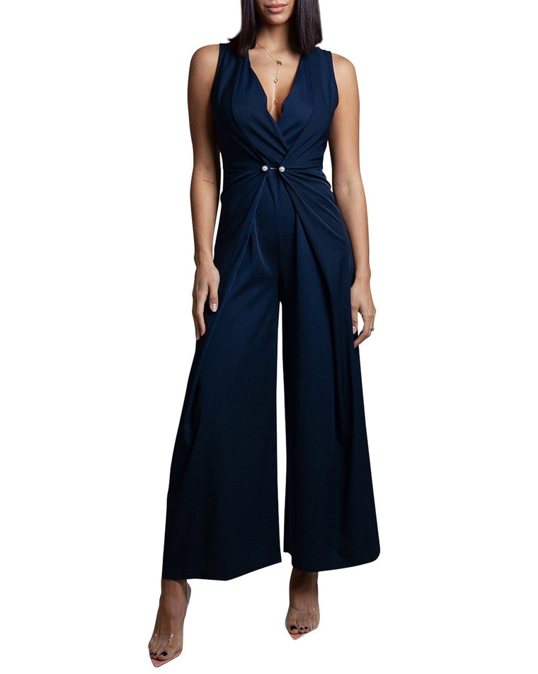 Draped V-Neck Navy Jumpsuit