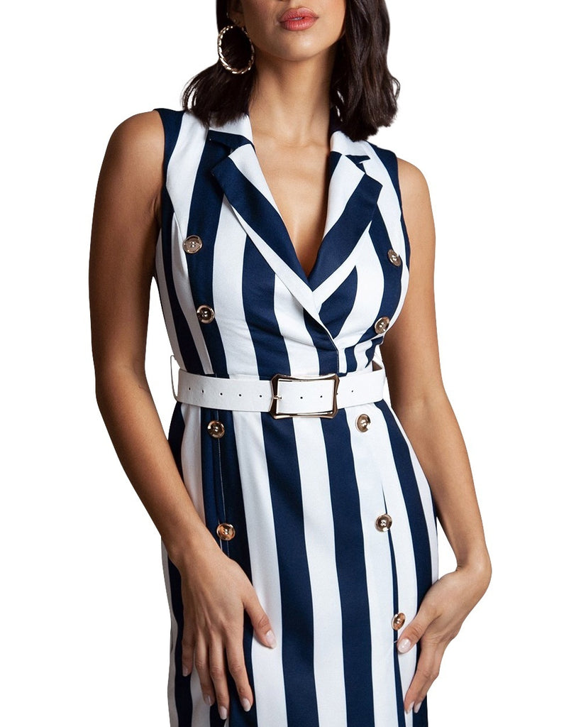 Navy Stripe Sleeveless Blazer Dress